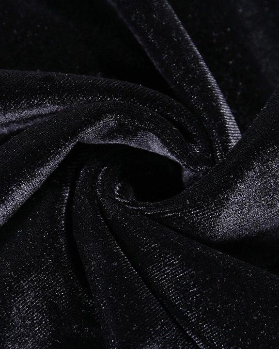 Velvet Split Hem Long Sleeve Qipao Style Dress gallery 9