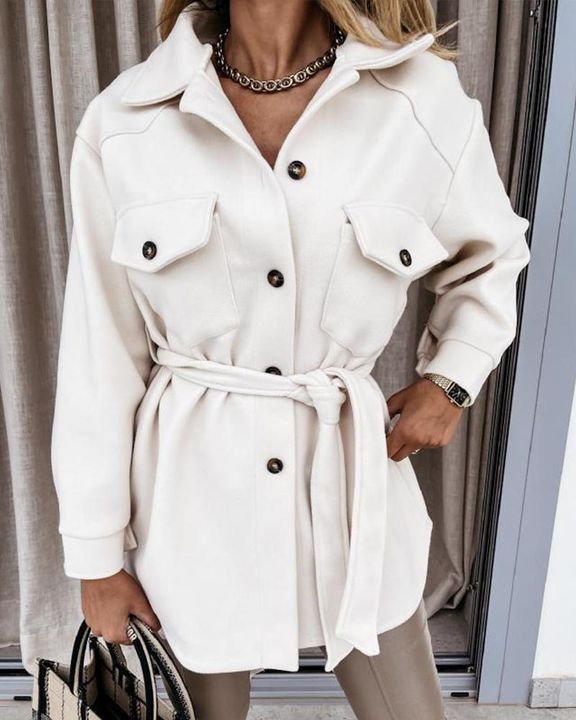 Self-Belted Flap Pocket Button Up Coat gallery 2