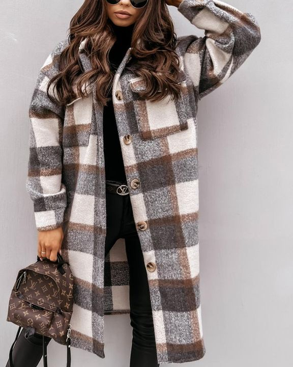Plaid Print Patch Pocket Button Up Teddy Coat gallery 2