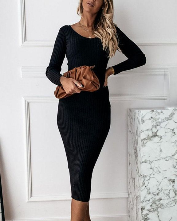 Solid Rib-Knit Form Fitted Maxi Dress gallery 2