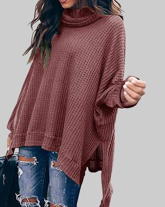Solid Split Hem High Neck Sweater gallery 5