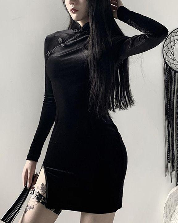 Velvet Split Hem Long Sleeve Qipao Style Dress gallery 3