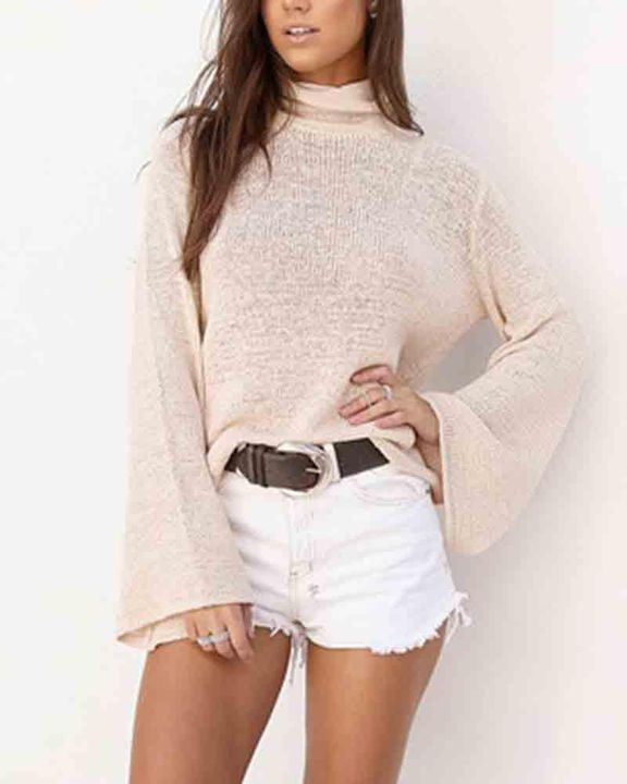 High Neck Lace Up Back Bell Sleeve Sweater gallery 3