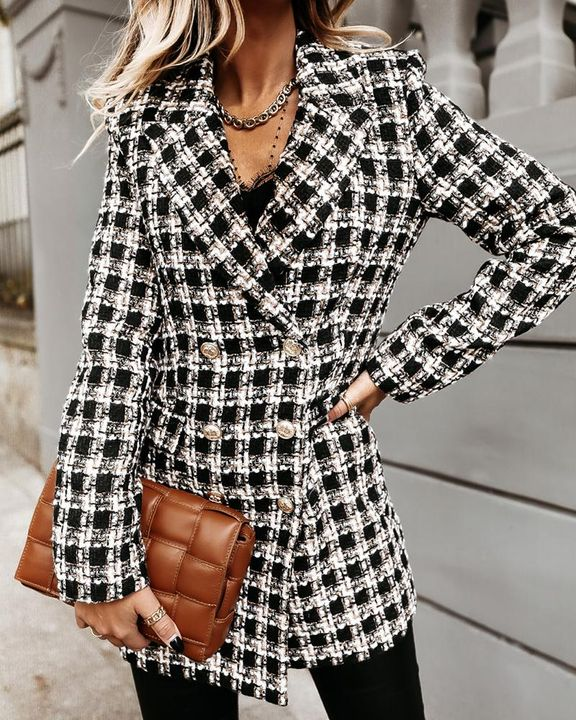 Plaid Double Breasted Lapel Neck Coat gallery 3