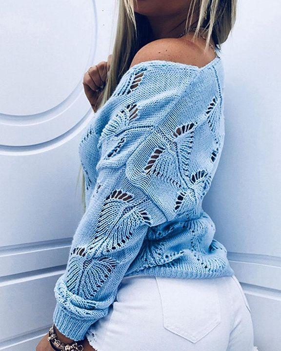 Pointelle Knit Drop Shoulder Bodycon Sweater gallery 8