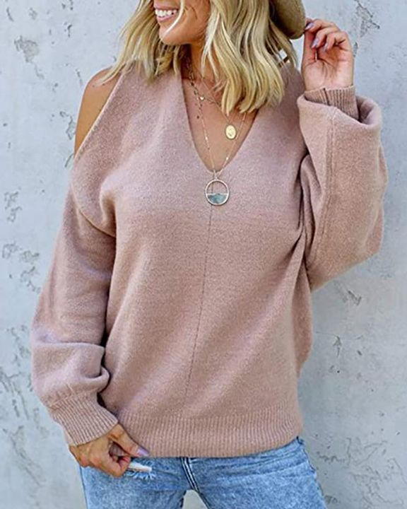Solid Cold Shoulder Rib Knit Sweater gallery 6