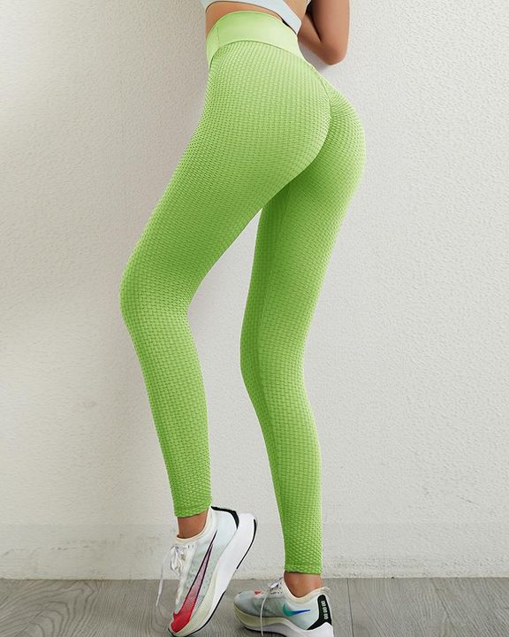 Solid Textured Wide Waistband Scrunch Butt Sports Leggings gallery 6