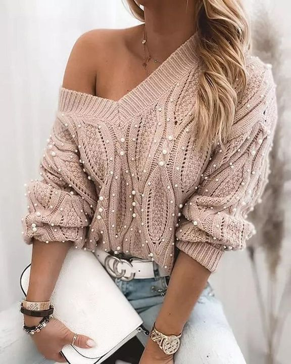 Solid Cable Knit Pearls Beaded V Neck Sweater gallery 1
