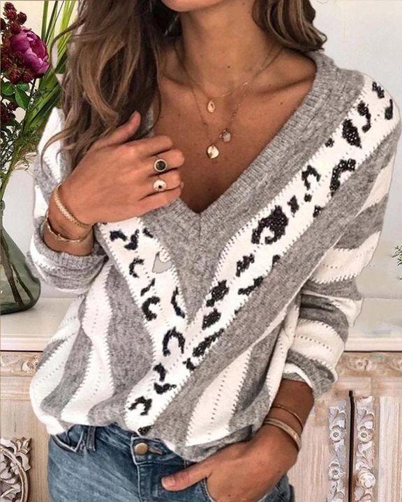 Leopard Print Drop Shoulder V Neck Sweater gallery 3