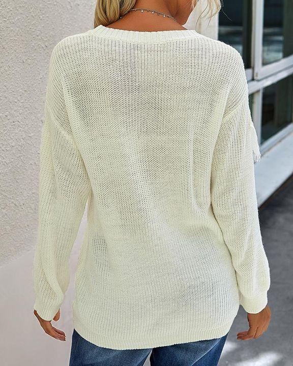 Solid Fringe Trim Drop Shoulder Sweater gallery 12