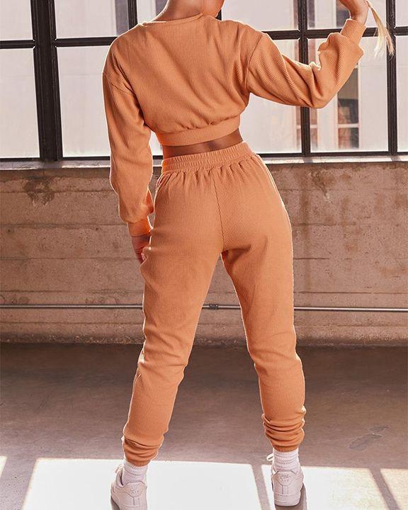 Solid Ribbed Long Sleeve Crop Top & Pants Set gallery 9