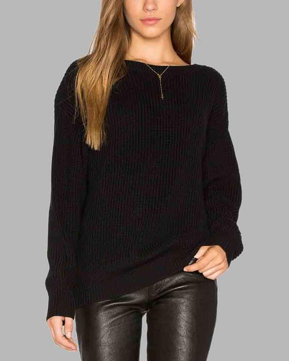 Chunky Knit Cutout Back Drop Shoulder Sweater gallery 8