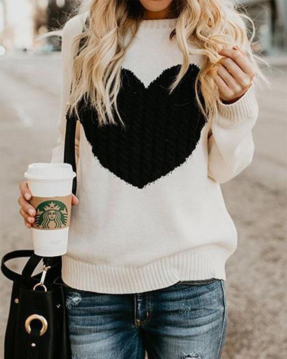 Colorblock Heart Pattern Chunky Knit Round Neck Sweater gallery 1