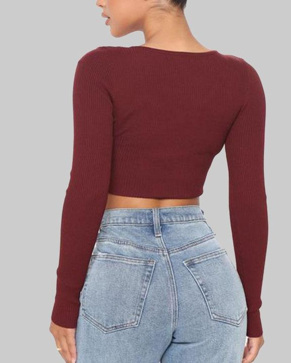 Ribbed Knit Button Decor Crop Sweater gallery 5