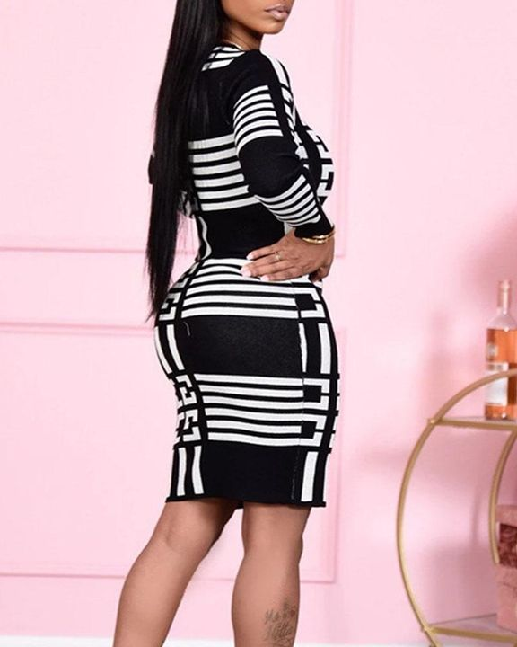 Allover Print Round Neck Long Sleeve Midi Dress gallery 2
