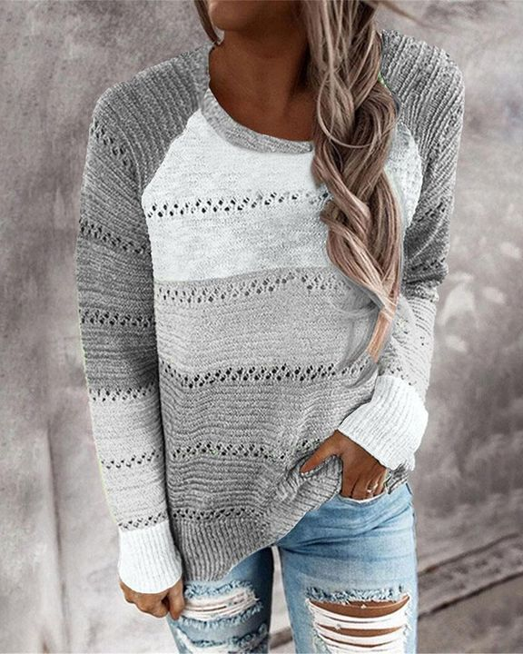 Colorblock Rib-Knit Hollow Out Round Neck Sweater gallery 1