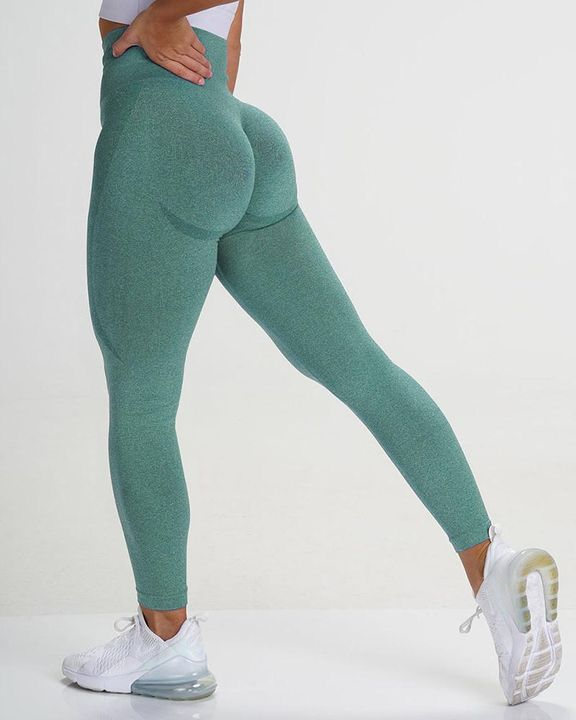 Solid Wide Waistband Contrast Stitch Sports Leggings  gallery 5