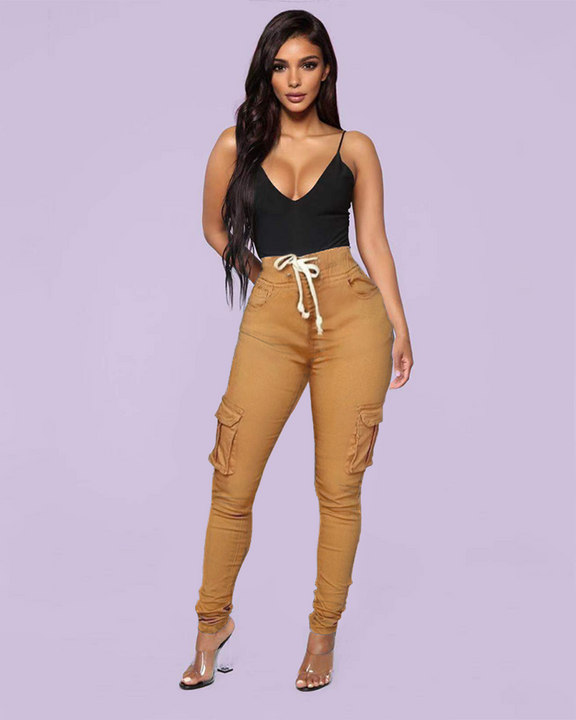 Solid Pocket Detail Drawstring Front Pants gallery 2
