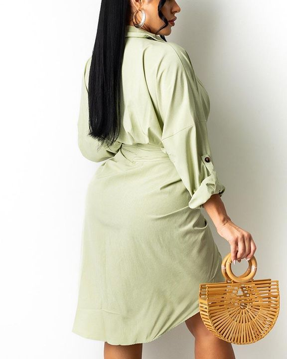 Solid Button Up Ruched Belted Knee Length Dress gallery 5