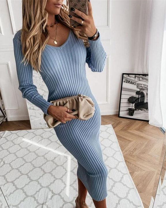 Solid Rib-Knit Form Fitted Maxi Dress gallery 4