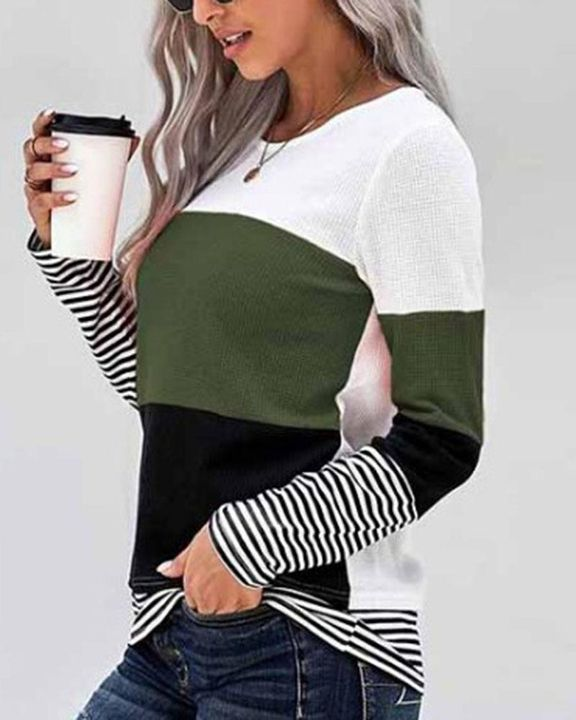 Colorblock Striped Print Round Neck Sweater gallery 8