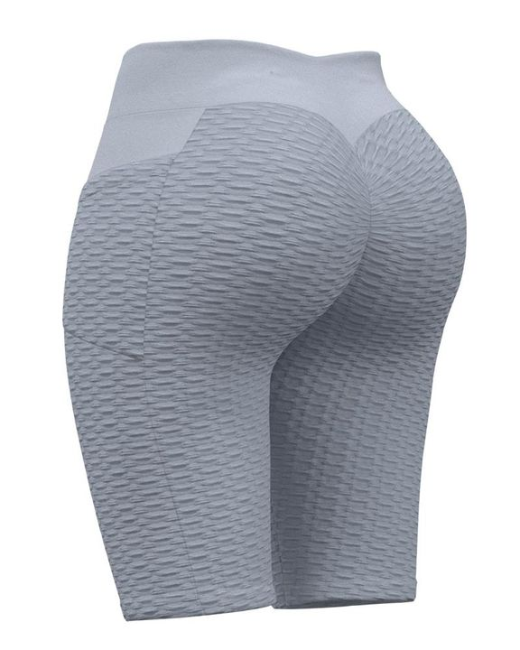 Textured Ruched Back Pocket Detail Sports Shorts gallery 2