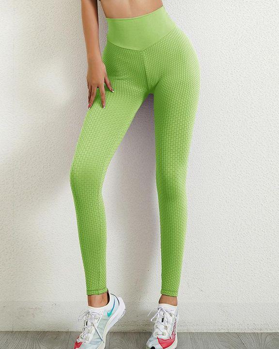 Solid Textured Wide Waistband Scrunch Butt Sports Leggings gallery 15