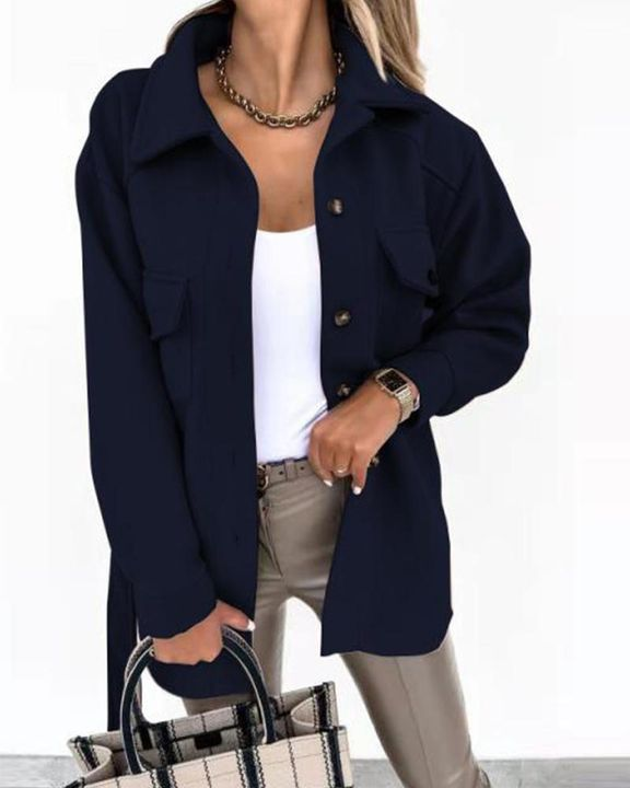 Self-Belted Flap Pocket Button Up Coat gallery 7