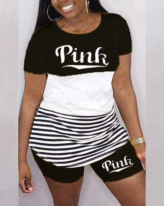 Striped & Letter Print Colorblock Top & Shorts Set gallery 1