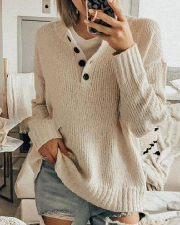 Solid Rib-Knit Button Front Drop Shoulder Sweater gallery 6