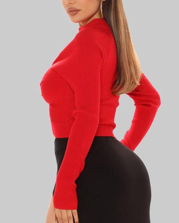 Rib Knit Twist Front Keyhole Neck Cutout Sweater gallery 4