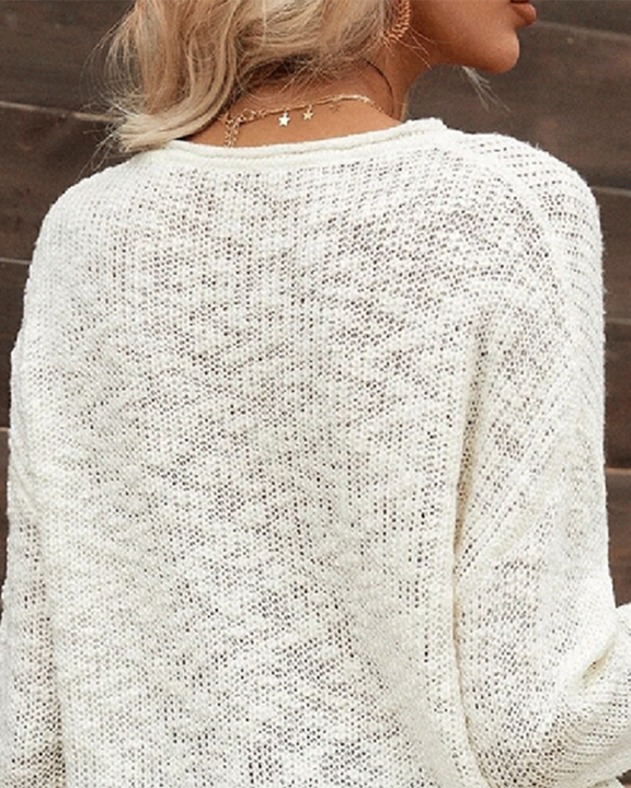 Chunky Knit V Neck Long Sleeve Sweater gallery 5