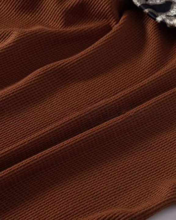Cheetah Panel Colorblock Twist Front Drop Bishop Sleeve Sweater gallery 8