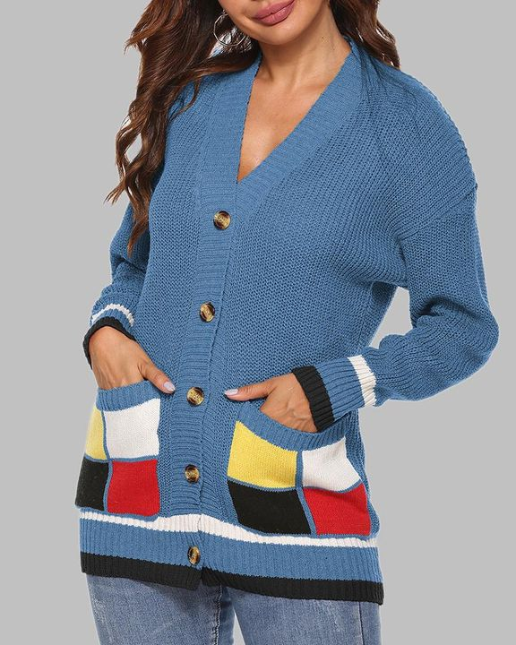 Colorblock Open Front Pocket Detail Button Trim Cardigan gallery 7