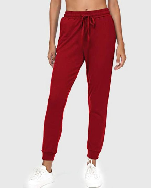 Solid Drawstring Front Pocket Detail Sports Pants gallery 3