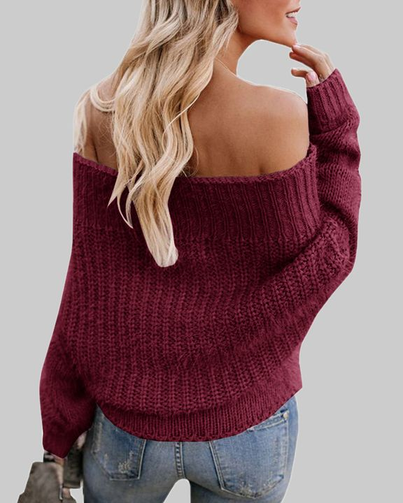 Chunky Knit Off Shoulder Sweater gallery 7