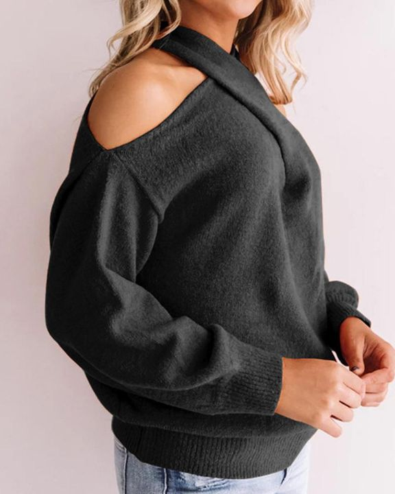 Solid Cold Shoulder Rib Knit Sweater gallery 11