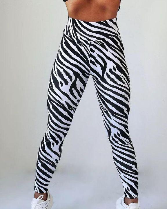 Zebra Striped Butt Lifting Sports Leggings gallery 3
