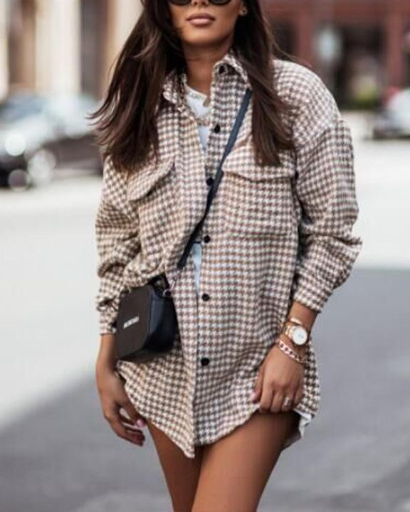 Houndstooth Print Flap Pocket Button Up Coat gallery 5