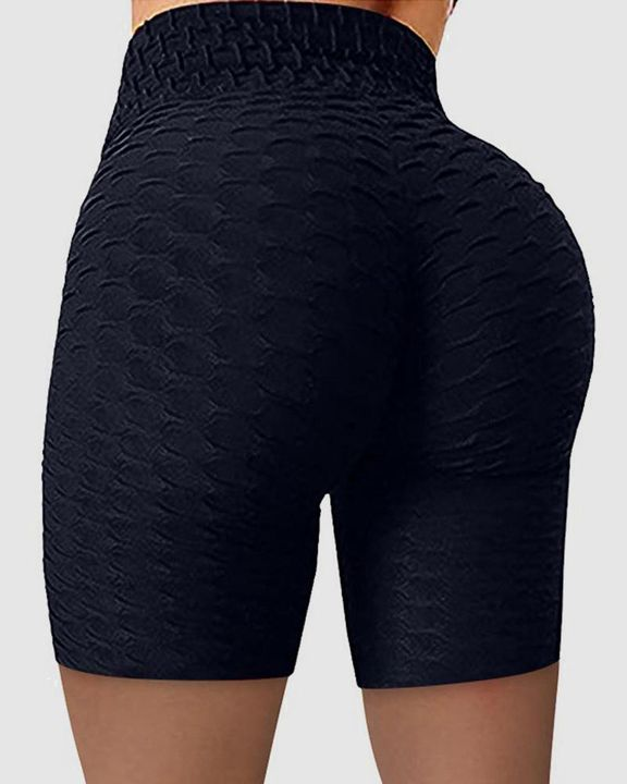 Solid Textured Wide Waistband Butt Lifting Sports Shorts gallery 4