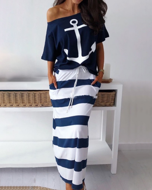 Anchor Print T-Shirt & Striped Skirt Set gallery 2