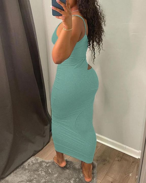 Solid Hollow Out Surplice Neck Cami Dress gallery 13