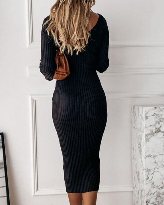 Solid Rib-Knit Form Fitted Maxi Dress gallery 9