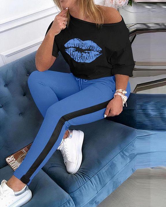 Lip Print Two Tone Drawstring Waist Long Sleeve T-Shirt & Pants Set gallery 2