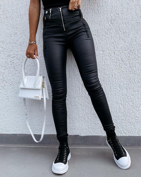 Zipper Front Studded Button High Waist PU Pants gallery 1
