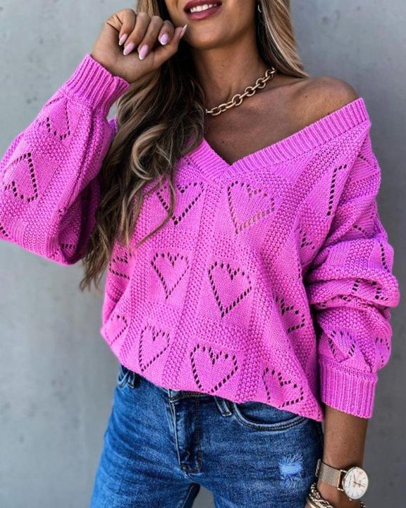 Heart Pattern Hollow Out Rib-Knit Sweater gallery 2