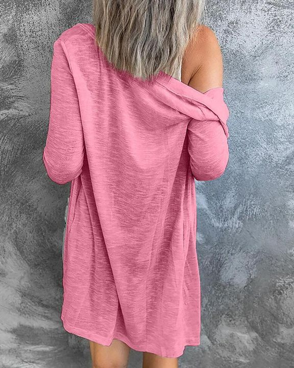 Solid Single Breasted Open Front Cardigan gallery 7