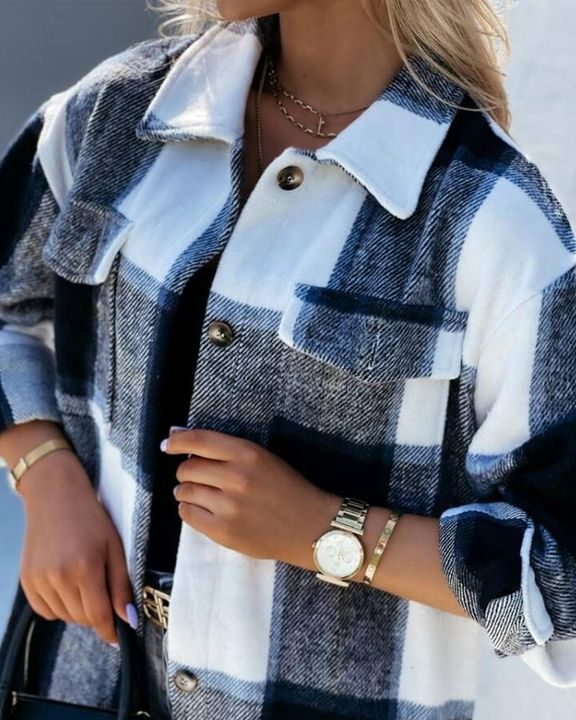 Plaid Flap Pocket Button Up Knee Length Coat gallery 5