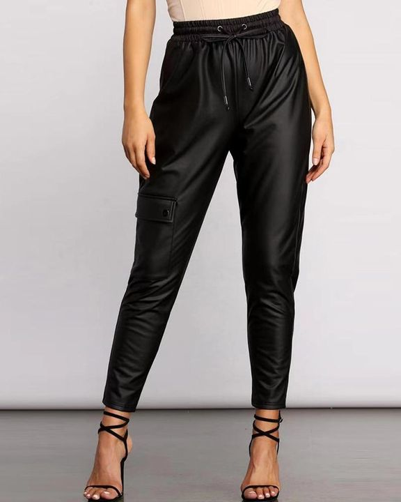PU Leather Drawstring Front High Waist Flap Pocket Pants gallery 1