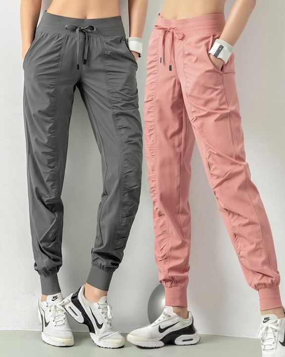 Quick Dry Drawstring Waist Ruched Front Sports Pants gallery 1